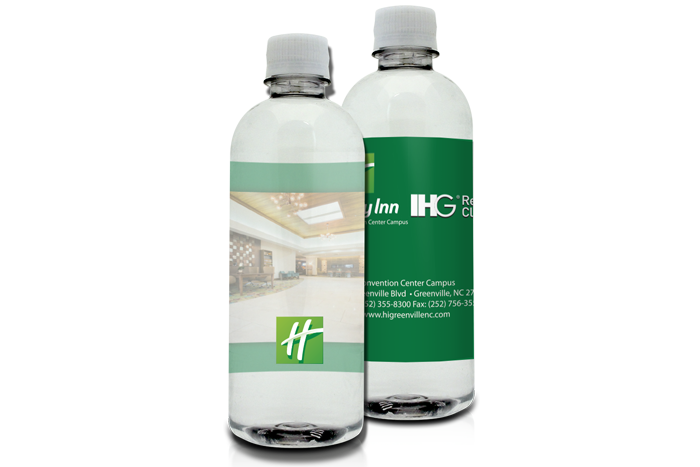 16.9oz. Custom Label Bottled Water with a 4x8 Ultra-Clear 3D Label
