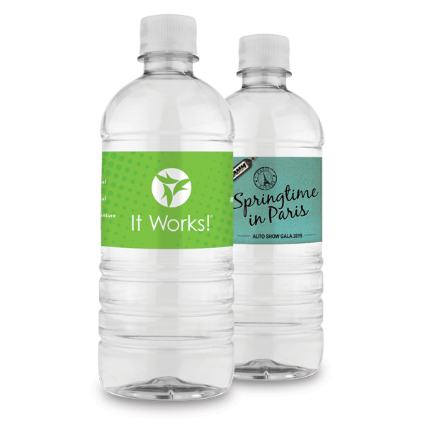 20oz. Custom Label Bottled Water with a 2x8 Full Color Label
