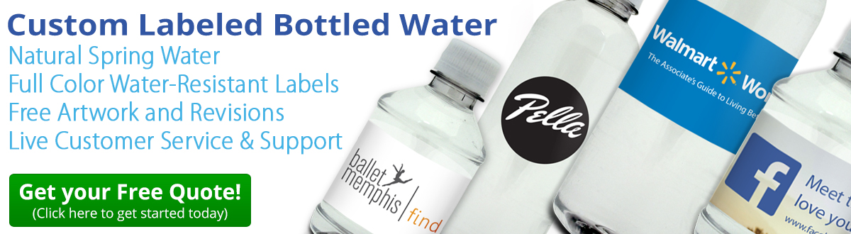 Custom labeled bottled water